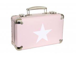 891 nytovany kufr 30cm ruzovy s bilou hvezdou
