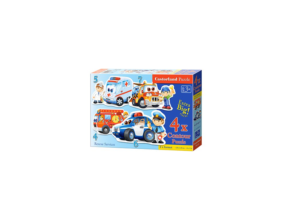 Castorland detské Maxi puzzle Záchranné vozidlá 4v1 sada