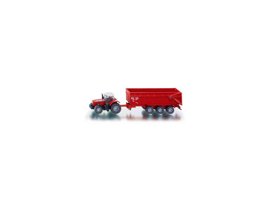 Siku Farmer 1844 Traktor Massey Ferguson s vlečkou 1:87