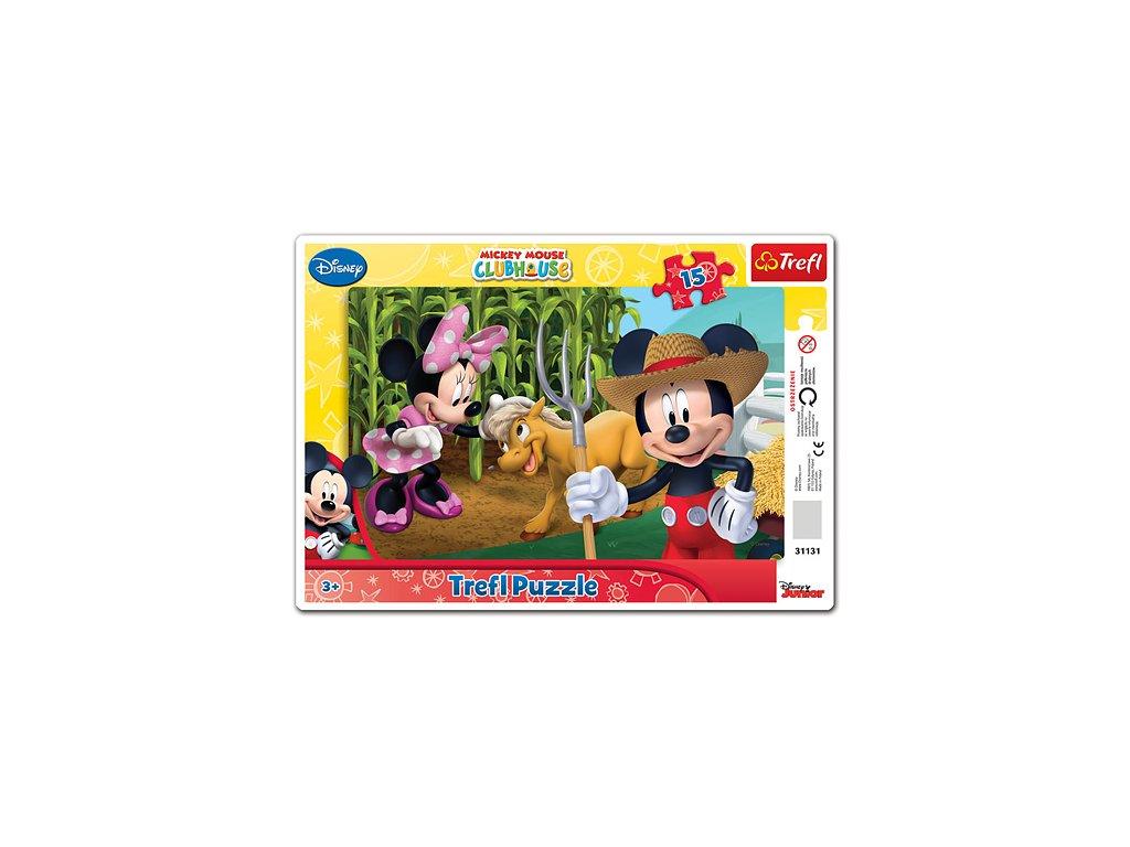 Trefl doskové puzzle Mickey na farme 15 dielikov