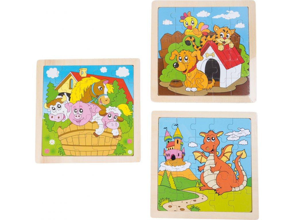 Small Foot - Doskové puzzle Zvieratká II - sada 3 ks