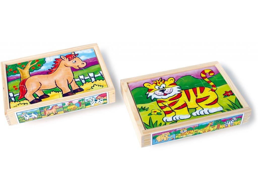 Small Foot - Drevené puzzle v krabičke - sada 2 ks