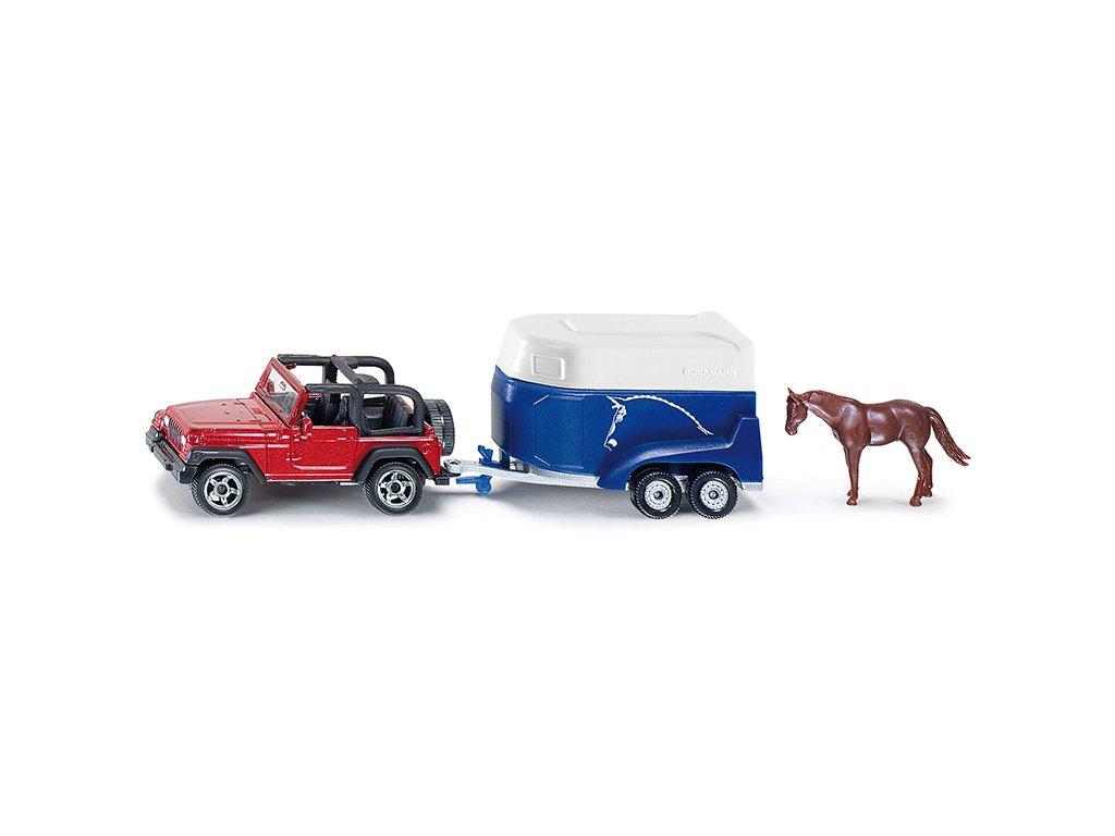 SIKU Blister 1651 Terénne auto s prívesom a koňom 1:87