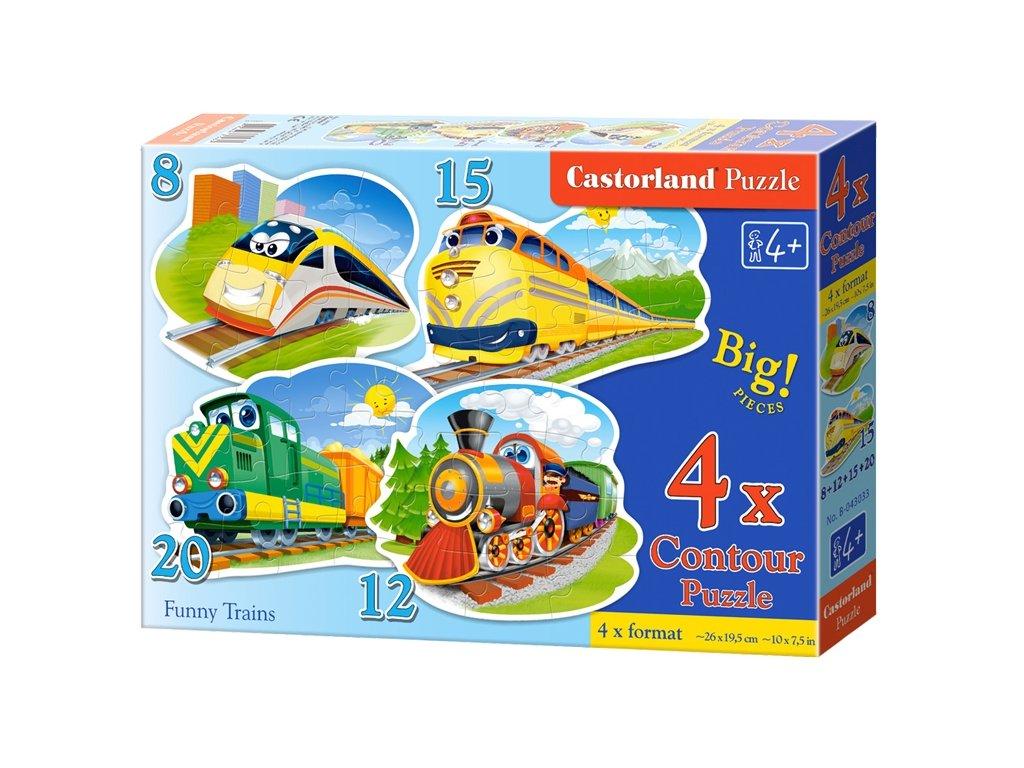 Castorland detské puzzle Veselé vláčiky 4v1