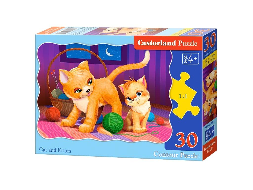 Castorland detské puzzle Mačka a mačiatko 30 dielikov