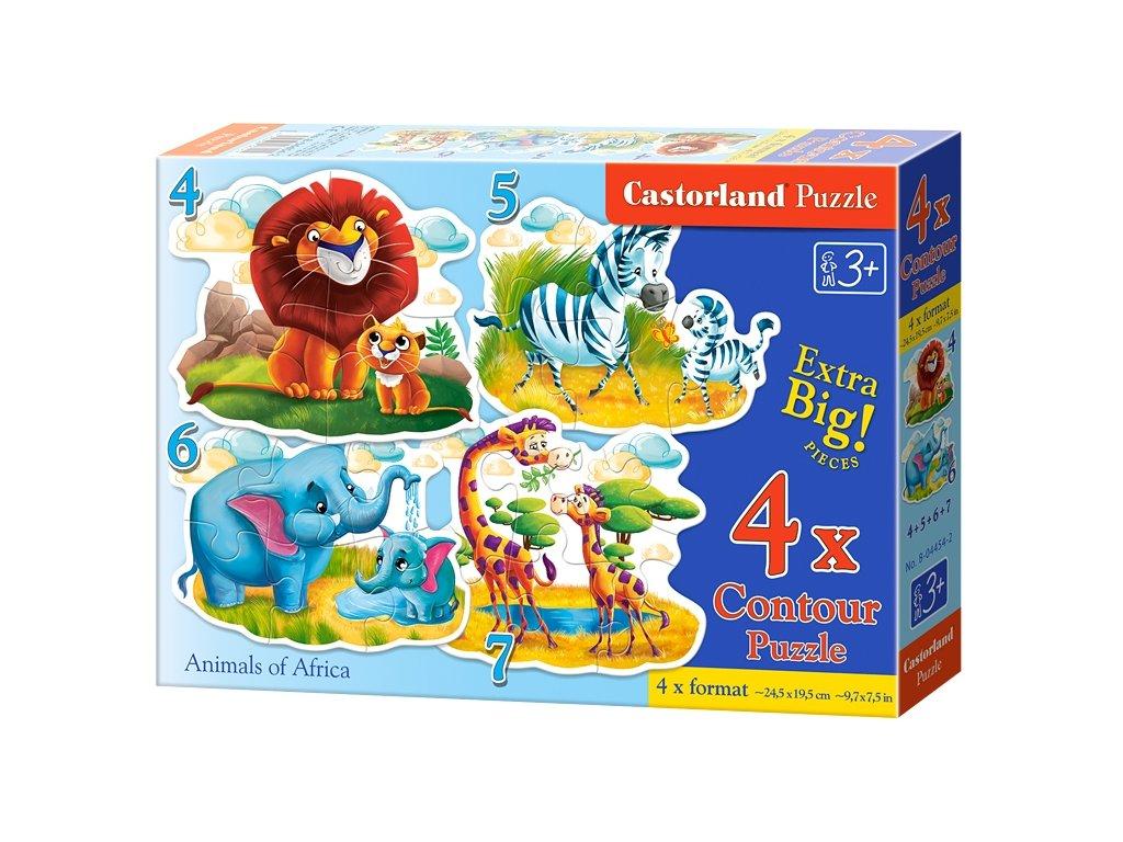 Detské MAXI puzzle Africké zvieratká 4v1 sada