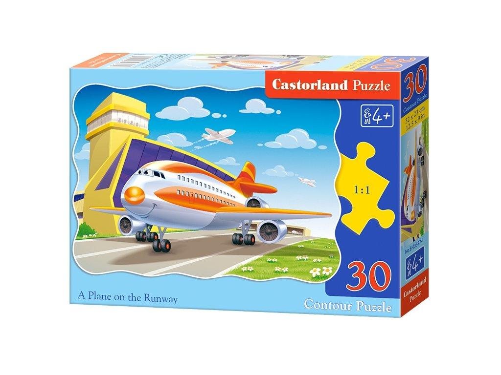Castorlnad detské puzzle Lietadlo na dráhe 30 dielikov