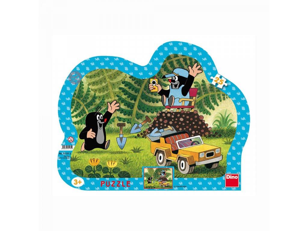 Dino puzzle Krtko s žltým autom 25 dielikov - kontúra