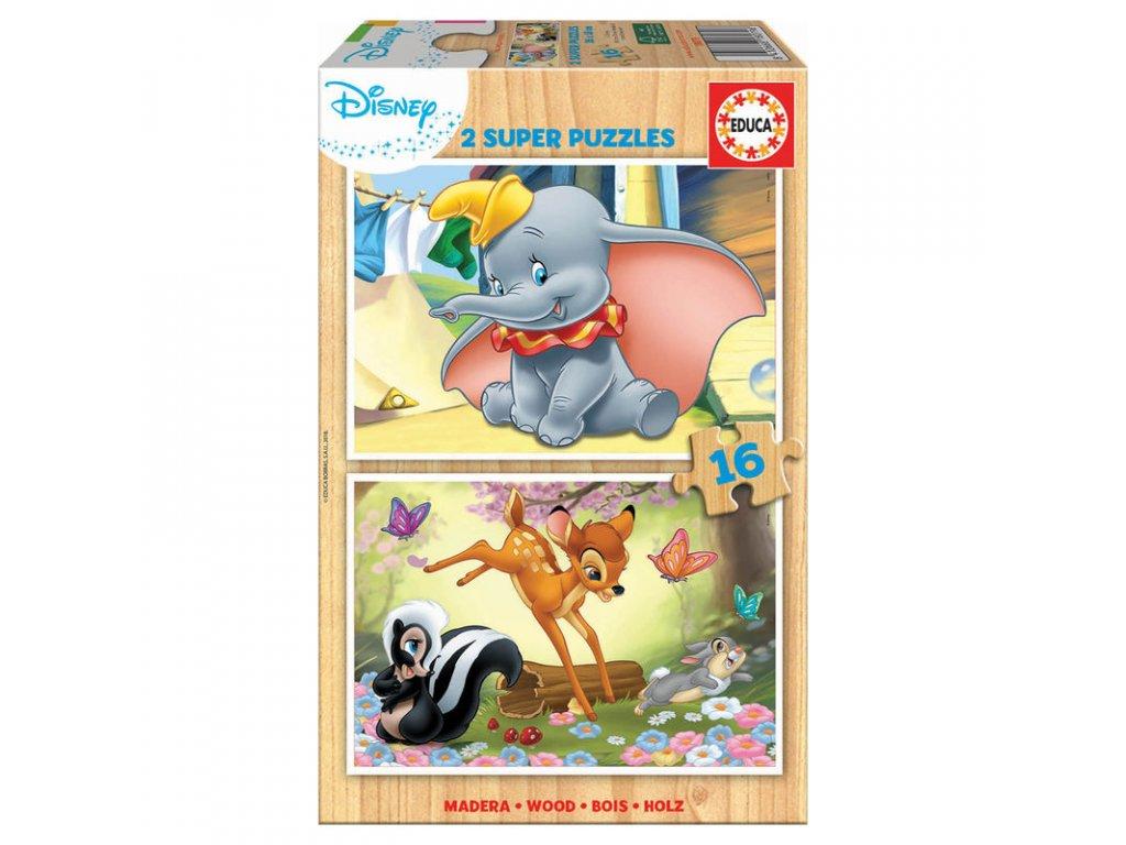 Educa drevené puzzle Dumbo + Bambi 2x16 dielikov