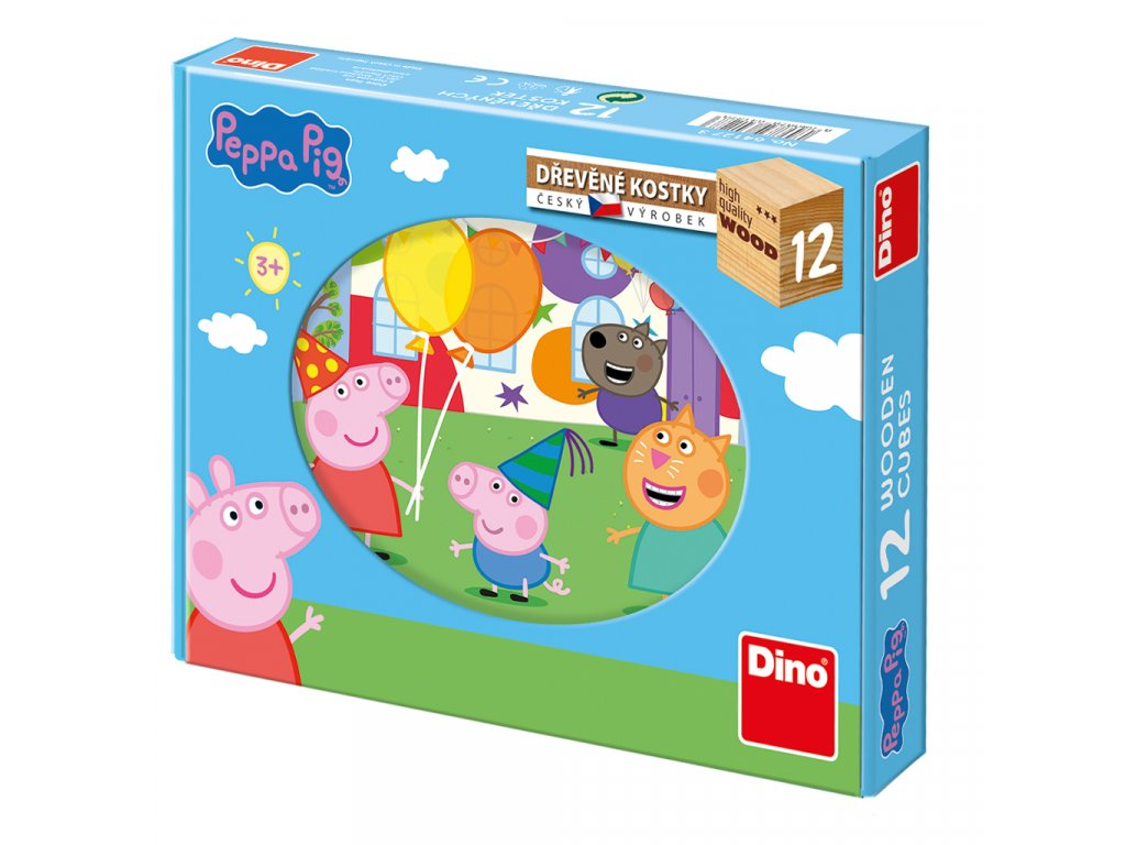 Dino Drevené kocky Peppa Pig - 12 kociek