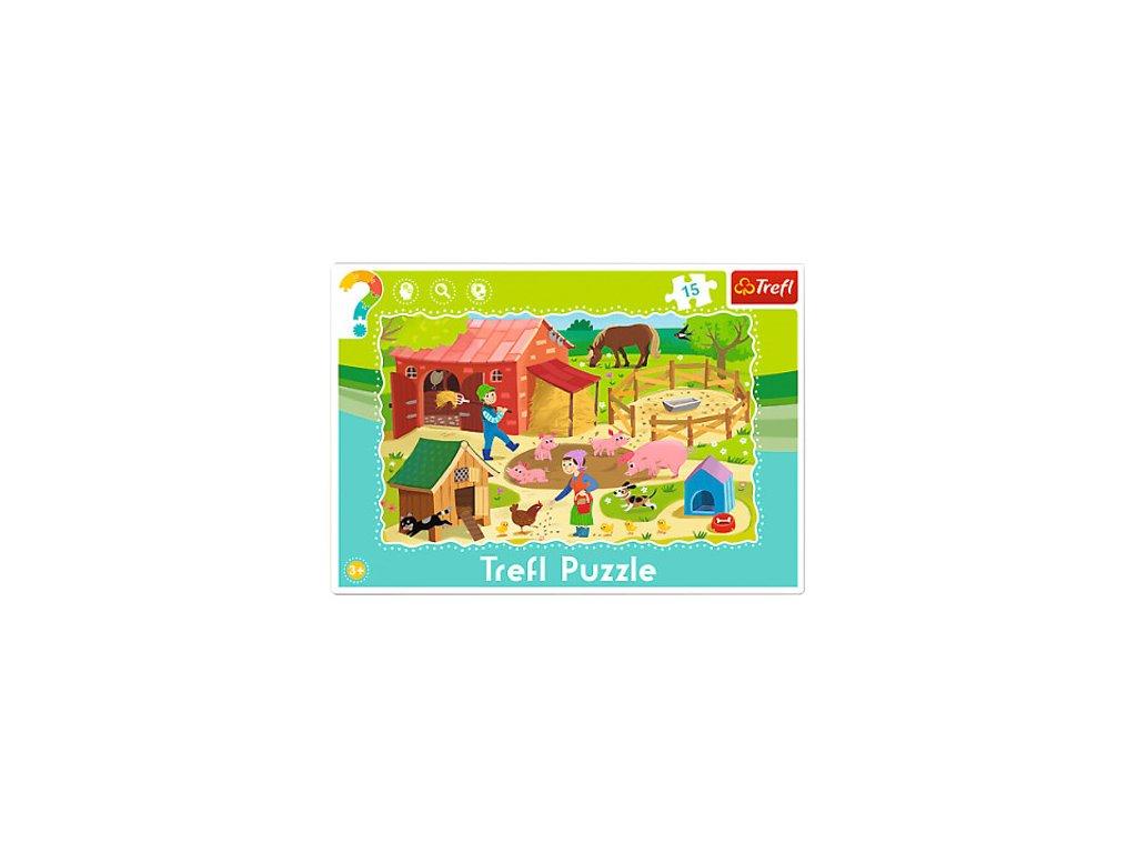 Trefl detské puzzle Na farme 15 dielikov