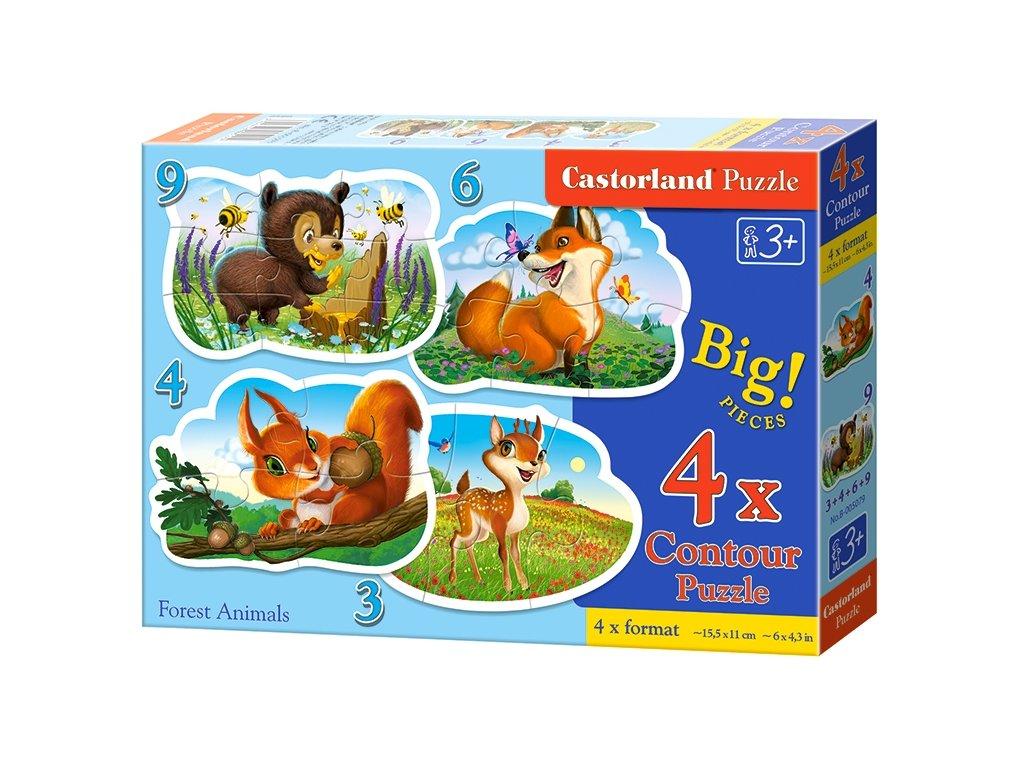 Castorland puzzle Lesné zvieratká 3+4+6+9 dielikov