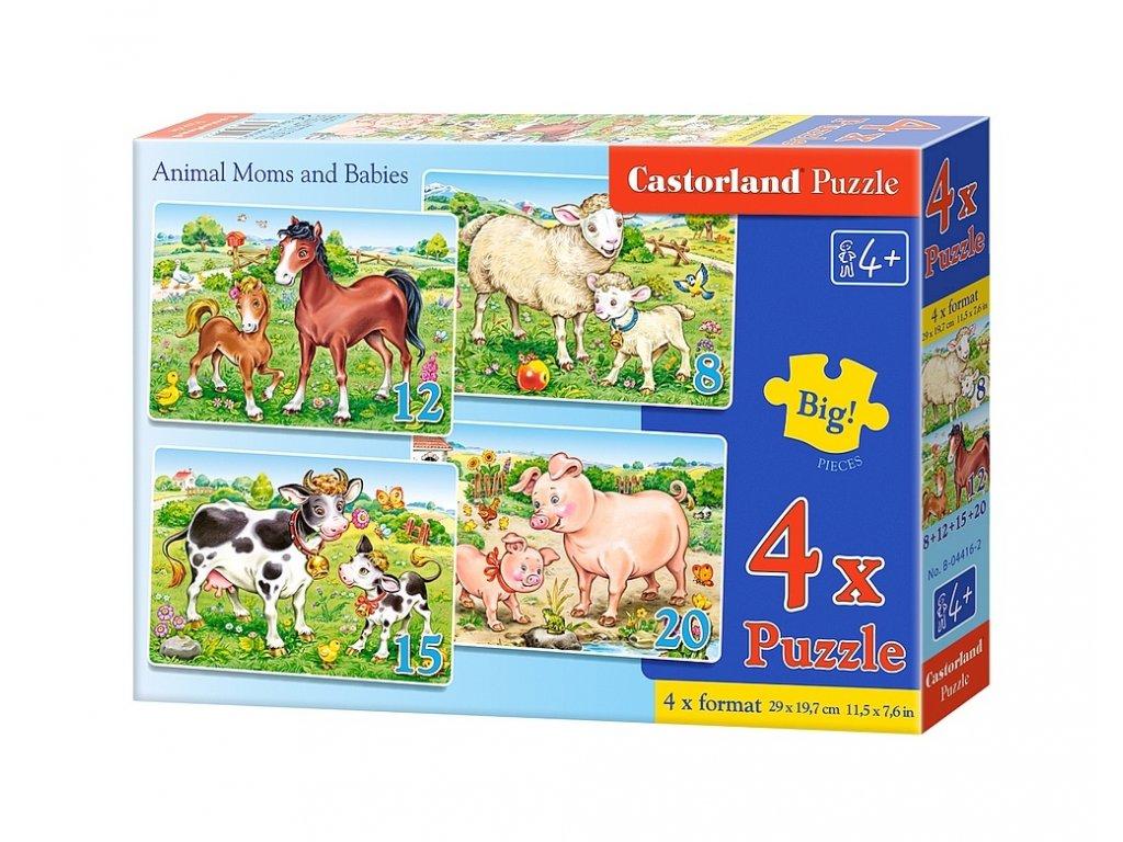 Castorland puzzle Mláďatká a ich mamičky 8+12+15+20 dielikov