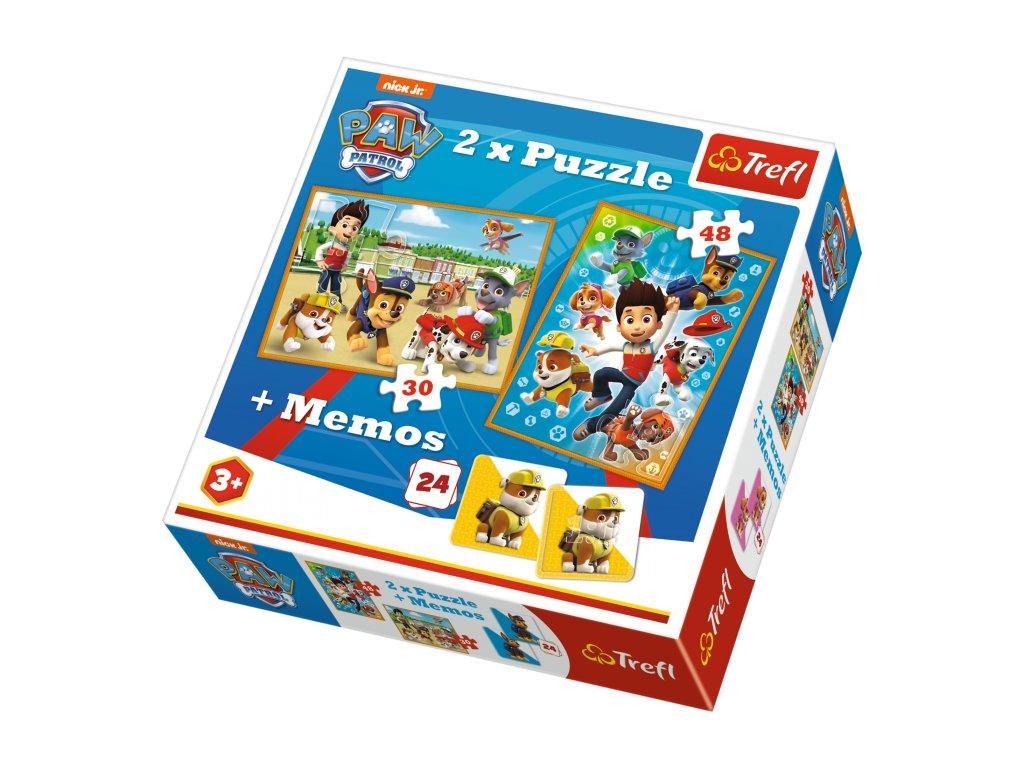 Trefl detské puzzle Paw Patrol 2x puzzle + memo