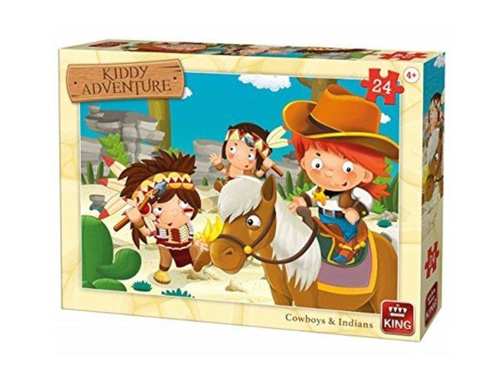 King puzzle Cowboy a Indiáni 24 dielikov