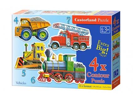 Castorland detské Maxi puzzle Mašiny 4v1 sada