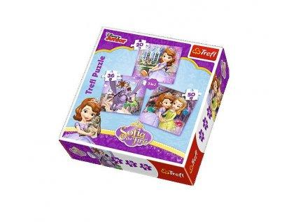 Trefl detské puzzle Sofia Prvá a priatelia 3v1 sada 20+36+50 dielikov