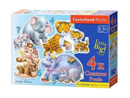 Castorland detské Maxi puzzle Jungle Babies 4v1 sada