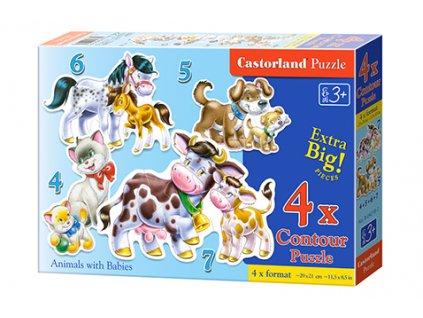 Castorland detské Maxi puzzle Domáce zvieratká 4v1 sada