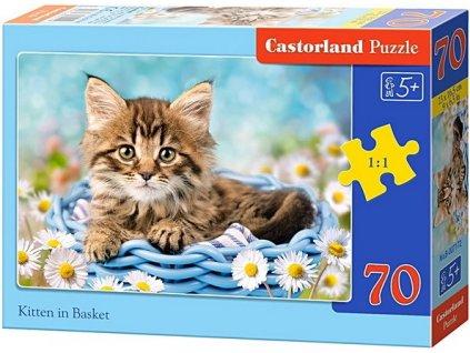 Castorland detské puzzle Mačka v košíku 70 dielikov