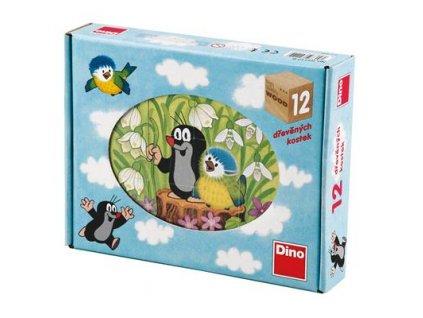 Dino Drevené kocky Krtko A Vtáčik - 12 kociek