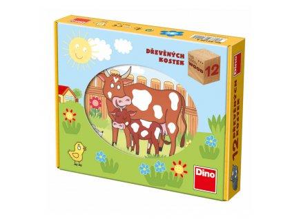 Dino Drevené kocky - Domáce zvieratká - 12 kociek
