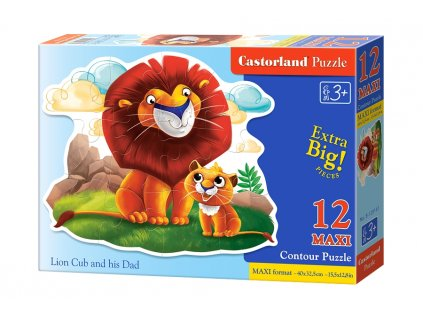 Castorland detské MAXI puzzle Levíča a lev 12 dielikov