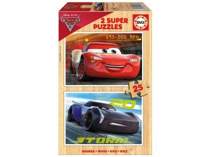 Educa drevené puzzle - Cars 2 x 25 dielikov