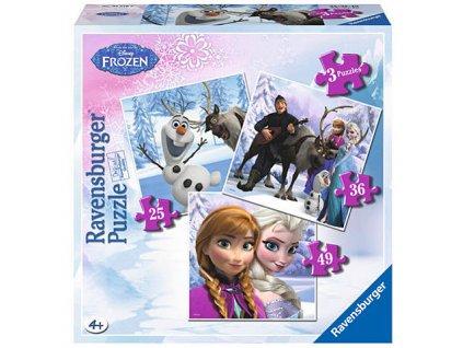 Ravensburger puzzle Frozen 3v1 25, 36, 49 dielikov
