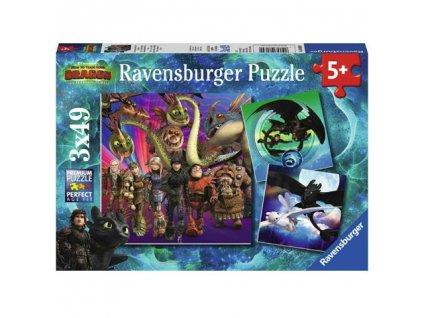 Ravensburger puzzle Ako vycvičiť draka 3 x 49 dielikov