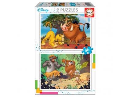 Educa puzzle Leví Kráľ + Kniha džungle  2x20 dielikov
