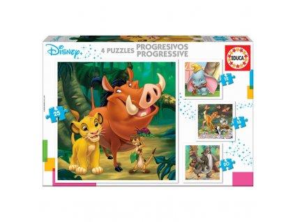 Educa Progressive Puzzle Disney zvieratká 4v1
