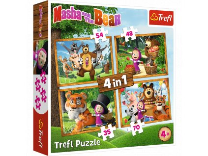 Trefl puzzle Máša a medveď 4v1 sada