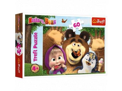 Trefl puzzle Zábava s Mášou a Medveďom 60 dielikov
