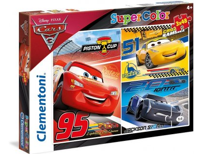 Clementoni puzzle Autá 3 sada 3 x 48 dielikov