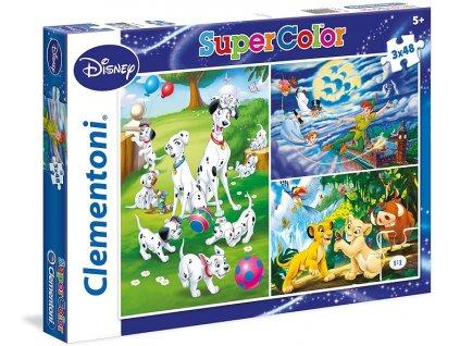 Clementoni puzzle Disney Klasik sada 3 x 48 dielikov