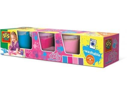 SES Creative - Prstové farby dievčenský set 4 x 145 ml