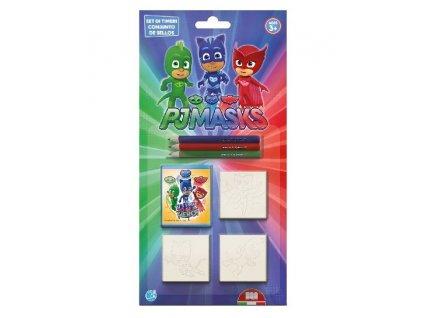 Multiprint Set pečiatok PJ Masks + 3 farbičky (7 kusov)