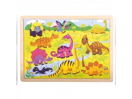 Bino drevené puzzle Dinosauri 20 dielikov