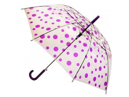 Transparentný detský dáždnik bodky - fialový 91 cm