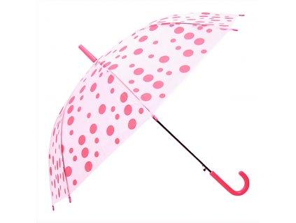 Transparentný detský dáždnik bodky - ružový 91 cm