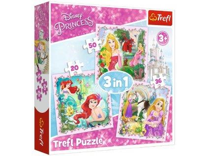 Trefl puzzle Disney Princess sada 3v1