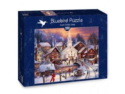 Bluebird puzzle Zasnežená dedinka 2000 dielikov