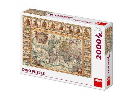 Dino puzzle Historická mapa 2000 dielikov