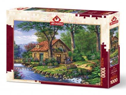 Art puzzle Domček pri rieke 1000 dielikov