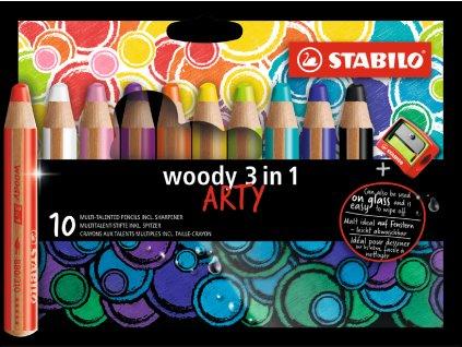 Stabilo Woody 3 v 1 ARTY 10 ks sada so stúhadlom