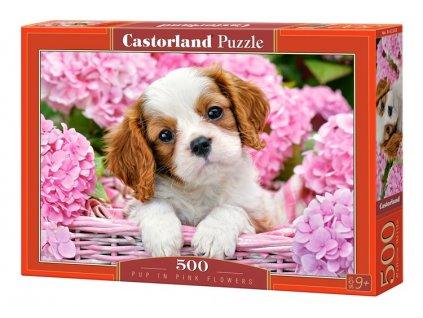 Castorland puzzle Šteniatko v kvetinách 500 dielikov