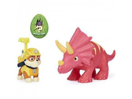Paw Patrol - Dino rescue figúrka Rubble a triceratops