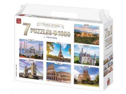 King puzzle 7 Divov Európy 1000 dielikov sada 7v1