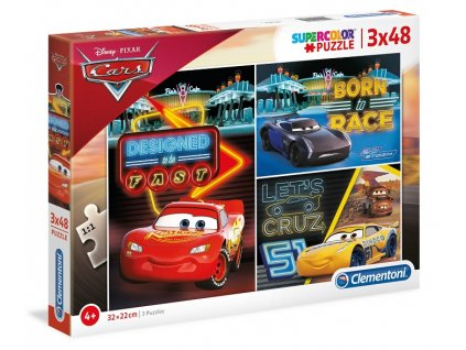Clementoni puzzle Cars 3 sada 3 x 48 dielikov
